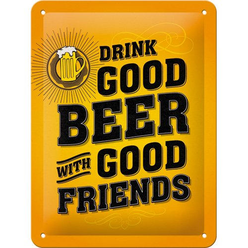 nostalgic-art-26204-word-up-drink-good-beer-plaque-de-metal-multicolore-15-x-20-x-02-cm