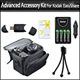 Advanced Accessory Kit For Kodak EasyShare Z981 14MP Digital Camera Includes USB 2.0 High Speed Card Reader + 4 AA High Capacity Rechargeable NIMH Batteries And AC/DC Rapid Charger + Deluxe Carrying Case + LCD Screen Protectors + More