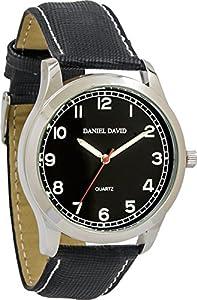 Daniel David Men's | Black Dial Luminous Textured Black Leather Watch | DD12801