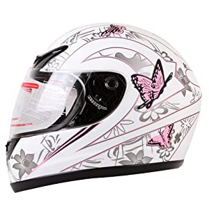 MATTE WHITE PINK BUTTERFLY FULL FACE MOTORCYCLE HELMET DOT (Medium) by I-volution