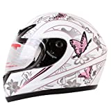 MATTE WHITE PINK BUTTERFLY FULL FACE MOTORCYCLE HELMET DOT (Medium)
