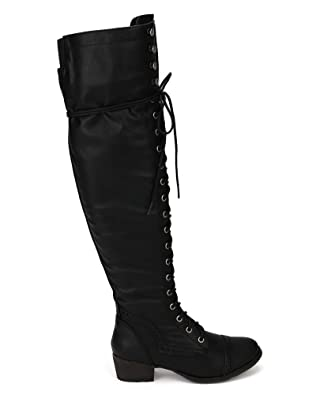 Womens Size 12 Black Lace Up Boots 112