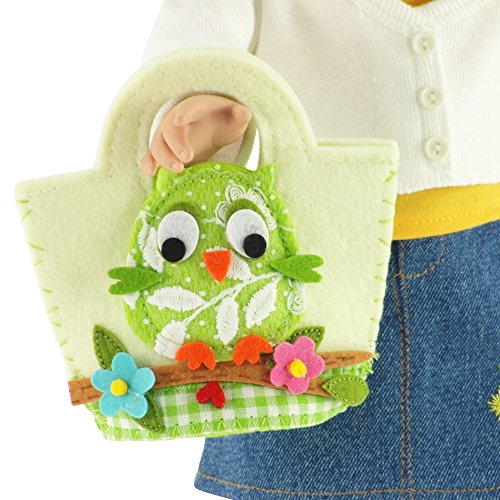 18-inch Doll Accessories | Doll-Sized Cream With Multicolored Owl Felt Purse - Handbag | Fits American Girl Dolls - 1