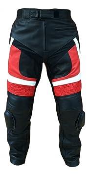 pantalon en cuir de moto noir et rouge avec protection