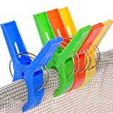 "Daixers 8pcs 4.7"" Durable Large Beach Towel Clips Plastic Clothespins Clothes Pegs Pins Clothes Hanger Clamp"