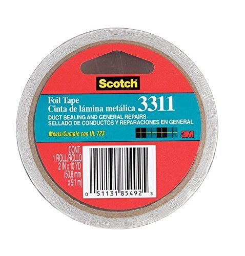 Scotch Aluminum Foil Tape 3311 Silver, 2 in x 10 yd 3.6 mil (Pack of 1) (Vapor Paper compare prices)
