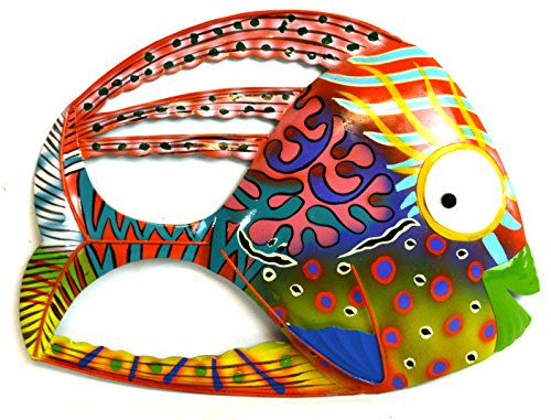 BEAUTIFUL ABSTRACT HAND PAINTED UNIQUE COLORFUL FISH METAL WALL ART BIG EYE (Metal Fish Decor compare prices)