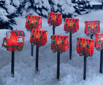 10 Piece Christmas Lighted Train Outdoor Yard