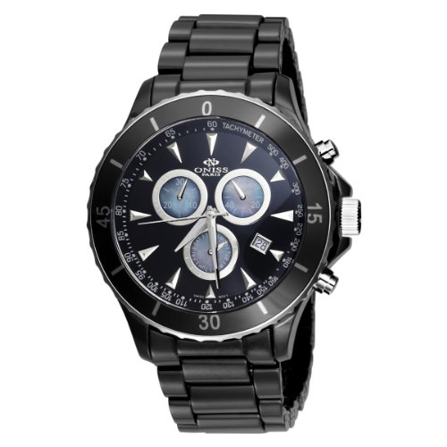 Oniss Men's Swiss Deluxe Ceramic Chronograph Watch ON621-M Black