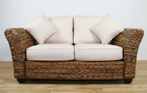 Conservatory furniture KINGSTON ABACA (Banana leaf) Medium 2 Seater Designer Sofa