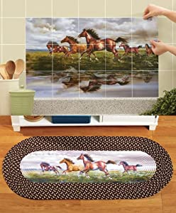 Western Horses Kitchen Decor Set Tile Back Splash Decals Braided Accent Rug