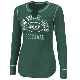NFL Women's New York Jets Gameday Gal III Long Sleeve Split Crew Neck Thermal Tee (Dark Green/White, XX-Large)