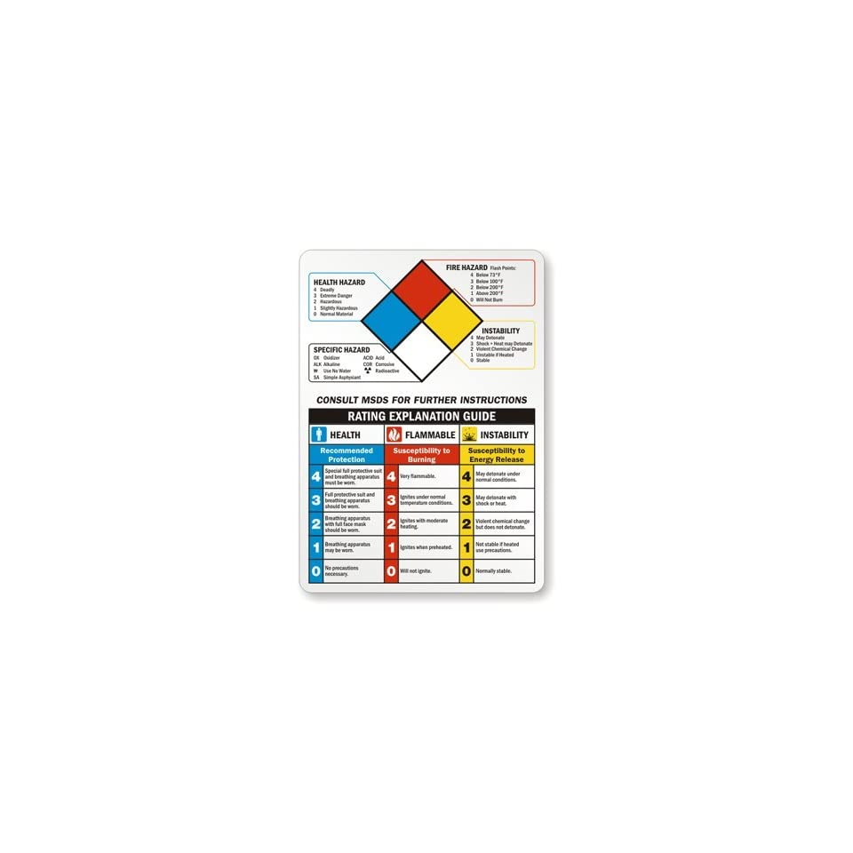 """SmartSign Adhesive Vinyl Label, Legend """"NFPA Chemical Hazard"""", 10"""" high x 7"""" wide, Black/Blue/Red/Yellow on White"""