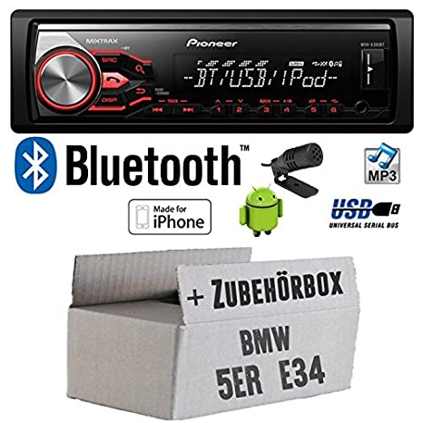 BMW série 5 e34 x380BT pioneer mVH-autoradio bluetooth mP3/uSB avec kit de montage