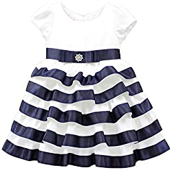 Little Muffet Girls' Regular Fit Dress (LM10021-3-4 Years, Blue and White, 3-4 Years)