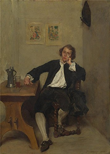 Perfect Effect Canvas ,the Imitations Art DecorativeCanvas Prints Of Oil Painting 'Jean Louis Ernest Meissonier A Man In Black Smoking A Pipe ', 16 X 22 Inch / 41 X 57 Cm Is Best For Study Artwork And Home Decoration And Gifts