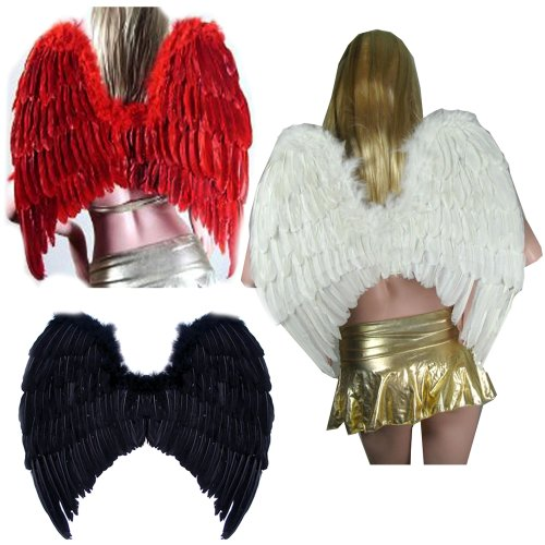 SACAS Large Feather Fairy Angel Wings 3 colors Black, White or Red