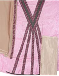 Exotic India Pink Banarasi Suit With Self Weave And Patch Border - Pink