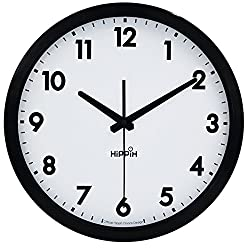 Hippih Non Ticking 12 Wall Clock with Glass Cover,Black and White