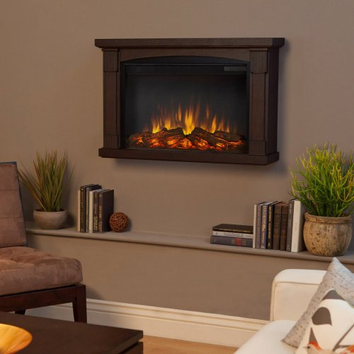 Real Flame Real Flame Brighton Slim Line Wall Hung Electric Fireplace - Chestnut Oak, Brown, Solid Wood And Veneered Mdf
