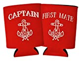 Funny Beer Coolie Captain and First Mate 2 Pack Can Coolies Red