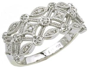 0.1 Carat I2 Diamond Illusion Setting Ring in 9ct White Gold