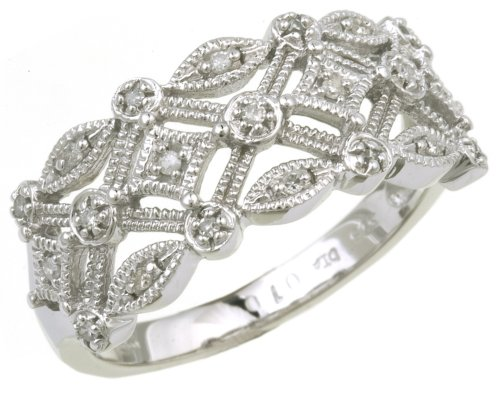9ct White Gold Ladies Diamond Ring Size N