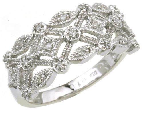9ct White Gold Ladies Diamond Ring Size N