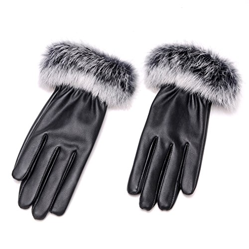 rnow-womens-winter-fluffy-rabbit-hair-cuff-pu-leather-fleece-lining-thermal-touch-screen-gloves-blac