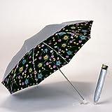 UV晴雨兼用軽量折傘 シルバー/ナデシコブラック