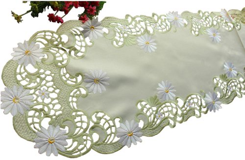 "15"" By 68""Daisy Simple Embroidered Cutwork Table Runner Bountiful Table Cloth"