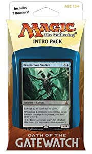 Magic the Gathering: MTG Oath of the Gatewatch: Intro Pack / Theme Deck: Twisted Reality (includes 2 Booster Packs & Alternate Art Premium Rare Promo) Blue / Colorless - Deepfathom Skuller
