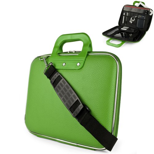 Lime Green Cady Cube Ultra Durable 12 inch Tactical Hard Messenger bag for your Sony VAIO T Series 13.3-Inch Touch Ultrabook with Extra Features: Reinforced durable constructions, Extra dividers and mesh pockets for other Tablets, eReaders, pens, papers, and other school supplies, and Secure Velcro Straps