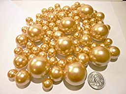 Unique Jumbo & Assorted Sizes 80 Pieces All Gold Pearls Value Pack Vase Fillers. NOT INCLUDING THE TRANSPARENT WATER GELS FOR FLOATING THE PEARLS (SOLD SEPARATELY).