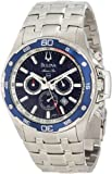 Bulova Men's Marine Star 98B163 Silver Stainless-Steel Quartz Watch with Blue Dial