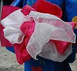 お子様二重合せ兵児帯 ピンク 子供兵児帯 兵児帯とオーガンジー飾り帯が合体 ダブルボリュームアップ帯/浴衣帯/ゆかた帯/子供帯/こども帯/コラボ帯