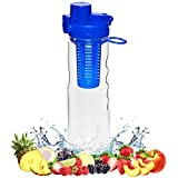 FlavFusion 25 oz Infuser Water Bottle with Locking Flip Top Lid (Blue)