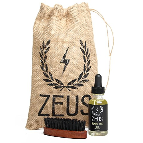 zeus beard oil kit for men natural beard conditioner softener kit with 100 boar bristle beard. Black Bedroom Furniture Sets. Home Design Ideas