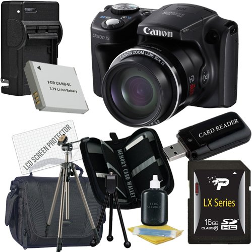 Canon PowerShot SX500 IS Digital Camera 16GB Package 5