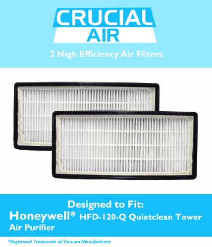 2 Honeywell Odor Neutralizing Air Purifier Filters Fit HFD-120-Q Quietclean Tower Air Purifier, Replaces Honeywell IFD filter, Designed & Engineered by Crucial Air