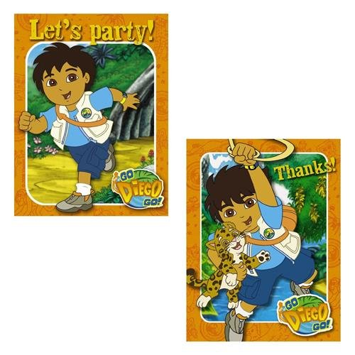 Go Diego Go 8 Party Invite Invitations Thank You Card Notes With Envolopes - 1
