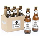 Brothers to Uncles - 6 Pregnancy Announcement Beer Bottle Labels and 1 Carrier