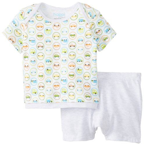 Happi By Dena Baby-Boys Newborn Cars Short Set, Grey Heather, 0-3 Months front-777888