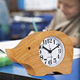 VIVISKY Alarm Clock,Cute Elephant Style wood clock Light Alarm Clock Small Round Classic Wood Silent Desk Travel Alarm Clock With Nightlight