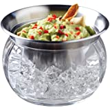 Perlli - Party Serving Bowl Dish with Ice Container, Includes Stainless Steel Chilled Dip Bowls + Crystal clear acrylic Ice Bowl, 22-Ounce Capacity - (SNAP ON LID INCLUDED)