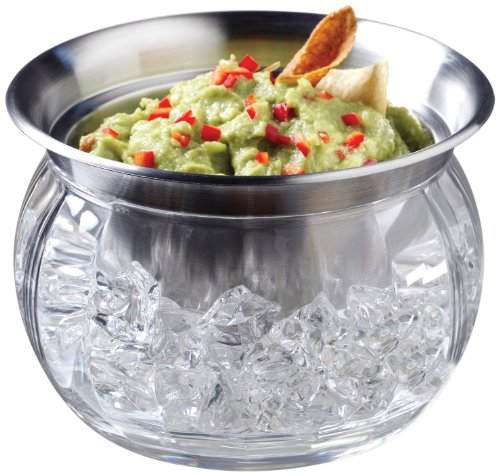 Perlli - Party Serving Bowl Dish with Ice Container Includes Stainless Steel Chilled Dip Bowls - Crystal clear acrylic Ice Bowl Supplies - (Fiesta Round Chip Dip Tray)