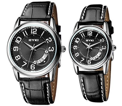 Eyki Ori-0188E Black Strape & Black Dial Couple Watches For His-And-Hers With Date Calendar