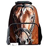 Ibeauti Unisex School Backpack, Large Capacity 3d Vivid Animal Face Print Polyester Backpack (Brown Horse)
