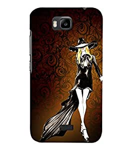 Walk in a Style Girl 3D Hard Polycarbonate Designer Back Case Cover for Huawei Honor Bee :: Huawei Y5C