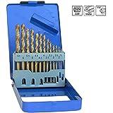 S&R Metallbohrer Set 1,5 - 6,5 mm ,135°, 13 Stk, DIN 338, geschliffen, HSS TITANIUM, Nitrit-Titan-Beschichtung, Metallbox.Profi-Qualität